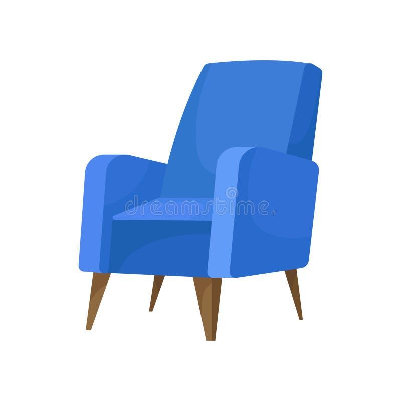 有木腿的舒适蓝色扶手椅子 客厅的舒适的椅子 软的家具 平的传染媒介象 向量例证
