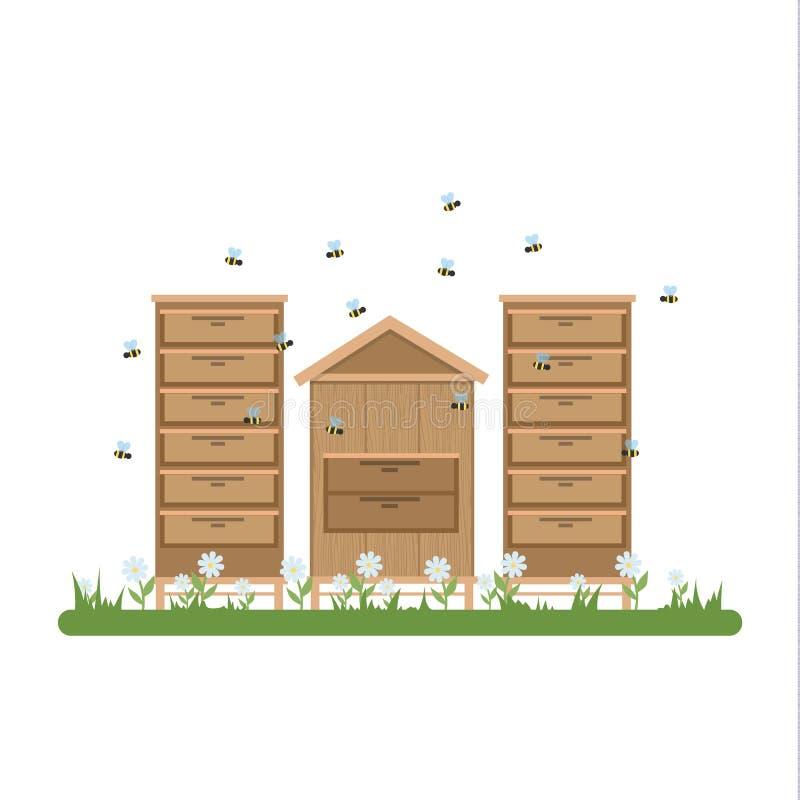 有木飞行蜂房和的蜂的蜂房  向量例证