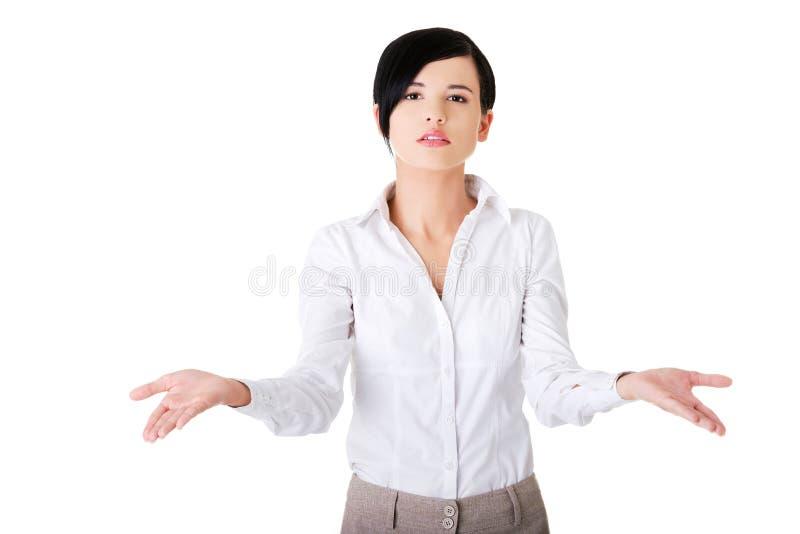 有未定的开放手势的妇女 免版税库存图片