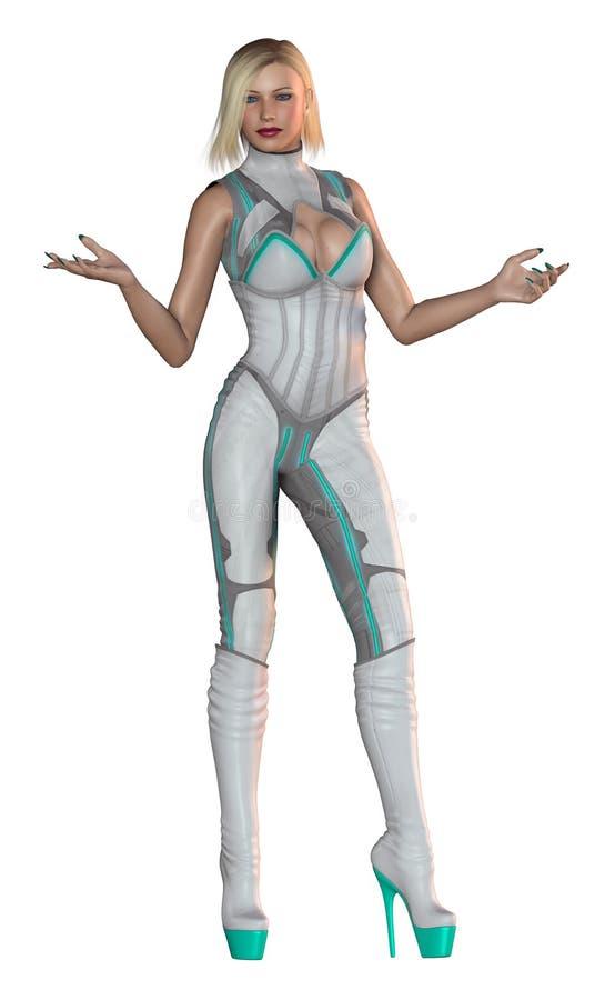 有未来派衣服,灰色和绿色的,高跟鞋起动,3d逗人喜爱的白肤金发的女孩例证 皇族释放例证