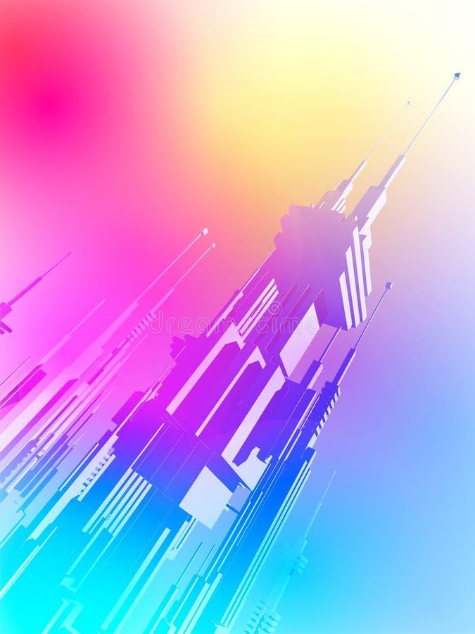 有未来的摩天大楼的未来派聪明的大都会城市 库存例证