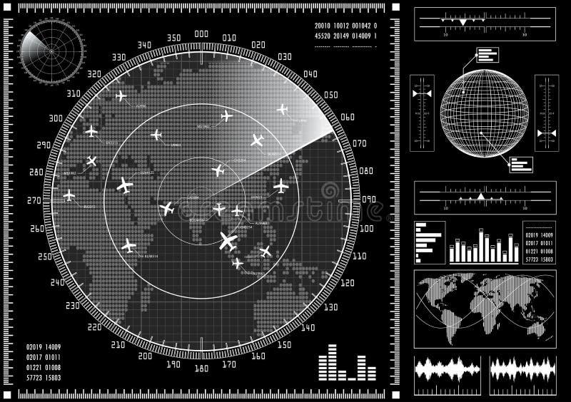 有未来派用户界面的HUD雷达显示器 皇族释放例证