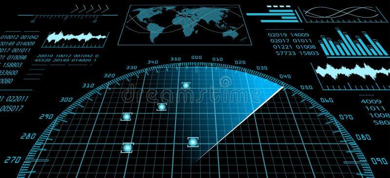 有未来派用户界面的HUD雷达显示器 向量例证