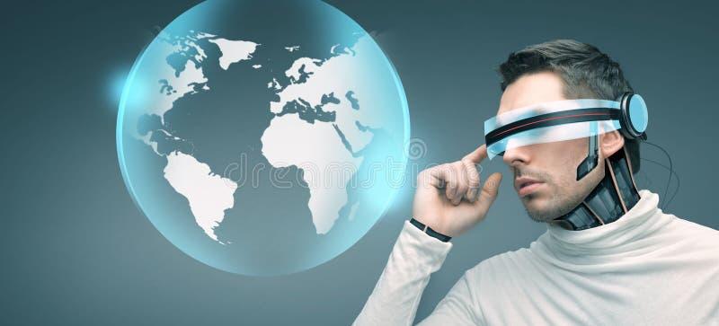 有未来派3d玻璃和传感器的人 向量例证