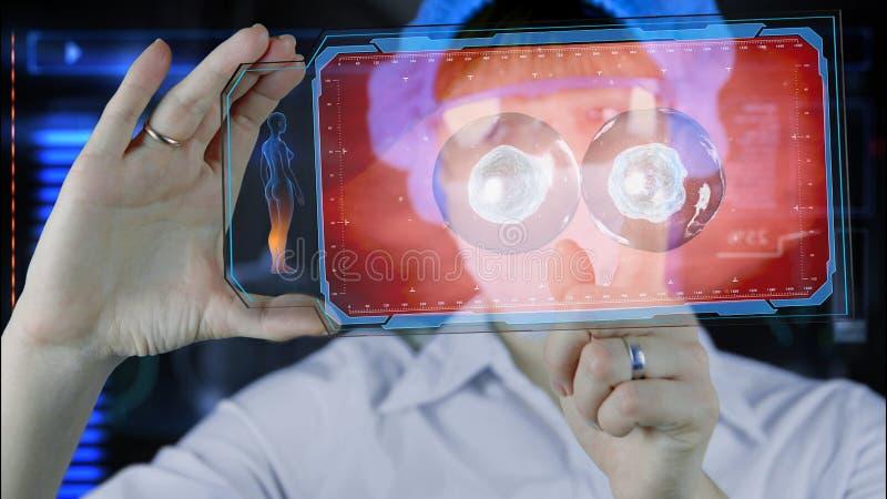 有未来派hud屏幕片剂的医生 细胞分裂 未来的医疗概念 免版税库存照片