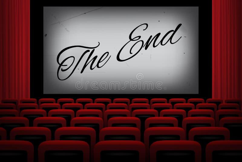 有末端文本的电影院在白色屏幕,红色帷幕和椅子上 也corel凹道例证
