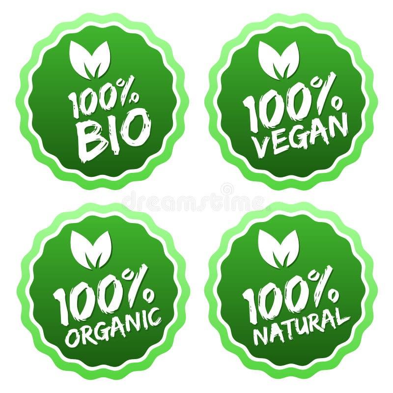 100%有机产品和优质质量自然食物的平的标签收藏 EPS10 向量例证