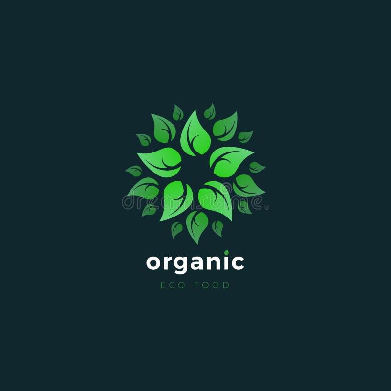有机产品 绿色Eco商标 自然食物商标设计模板  皇族释放例证