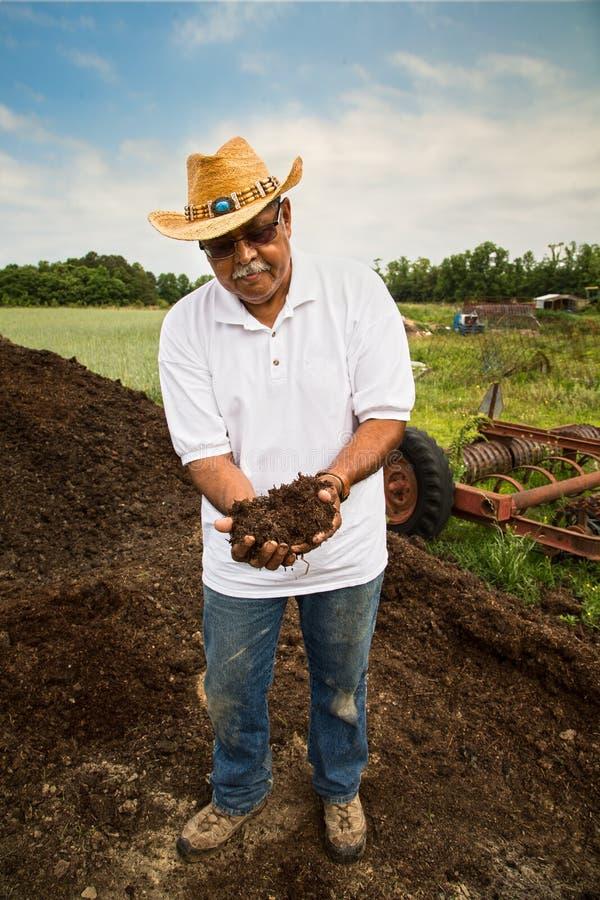 有机农夫画象 免版税图库摄影