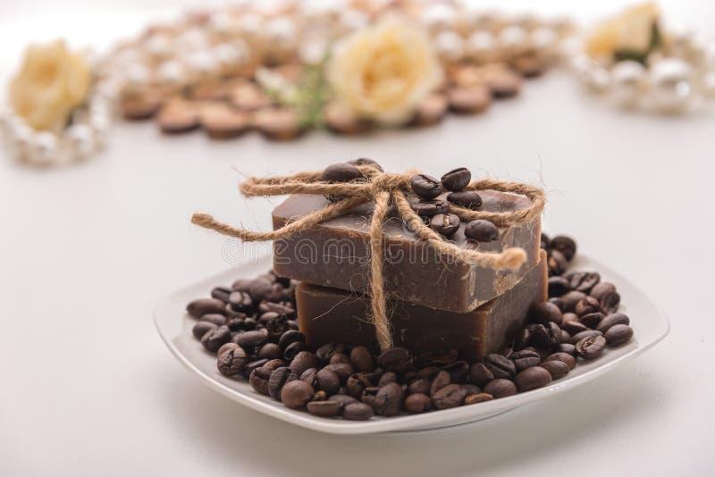 有机咖啡肥皂 免版税库存图片