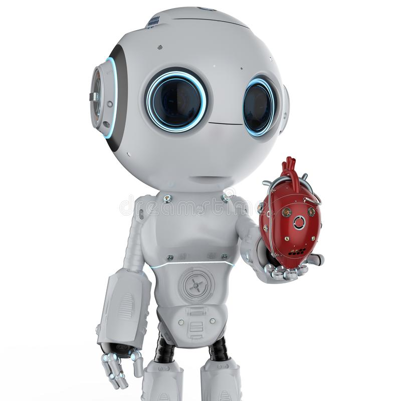 有机器人心脏的微型机器人 皇族释放例证