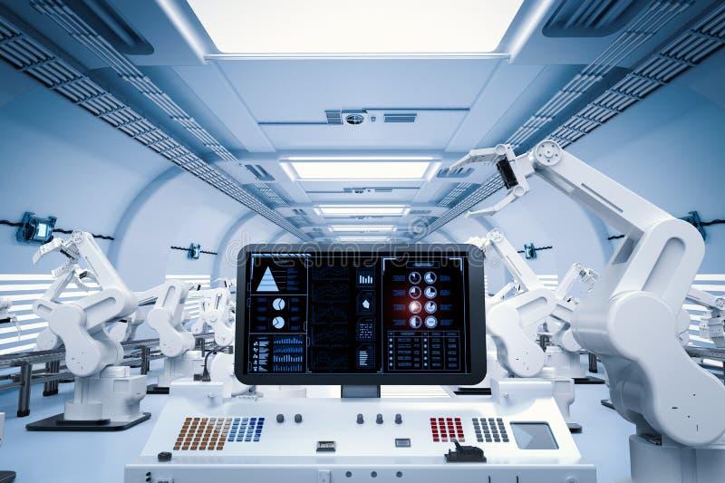 有机器人胳膊的控制板屏幕 皇族释放例证