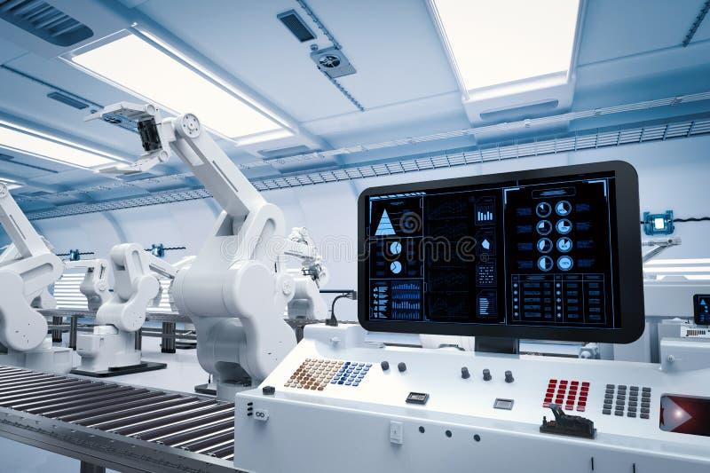 有机器人胳膊的控制板屏幕 向量例证