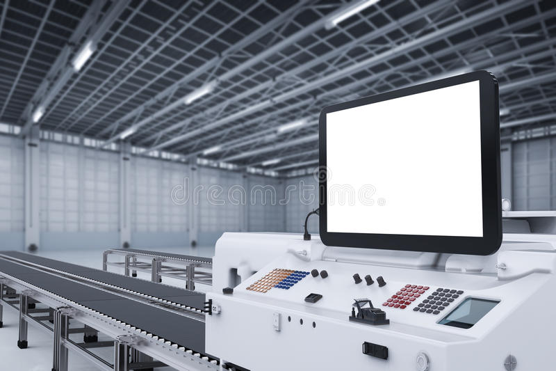 有机器人胳膊的控制板屏幕 库存例证