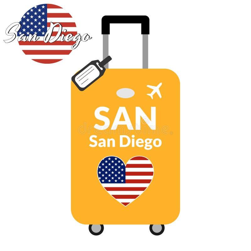 有机场驻地代码IATA或地点标识符和目的地城市名字的圣迭戈,SAN行李 对的旅行 向量例证