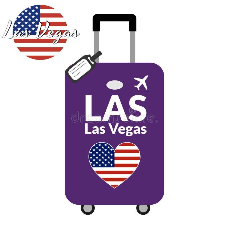 有机场驻地代码IATA或地点标识符和目的地城市名字的拉斯维加斯,LAS行李 对的旅行 库存例证