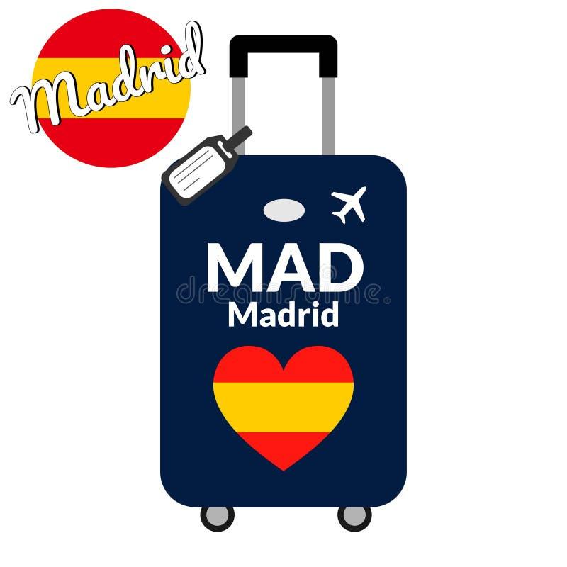 有机场驻地代码IATA或地点标识符和目的地城市名字的马德里行李,疯狂 旅行向西班牙 向量例证