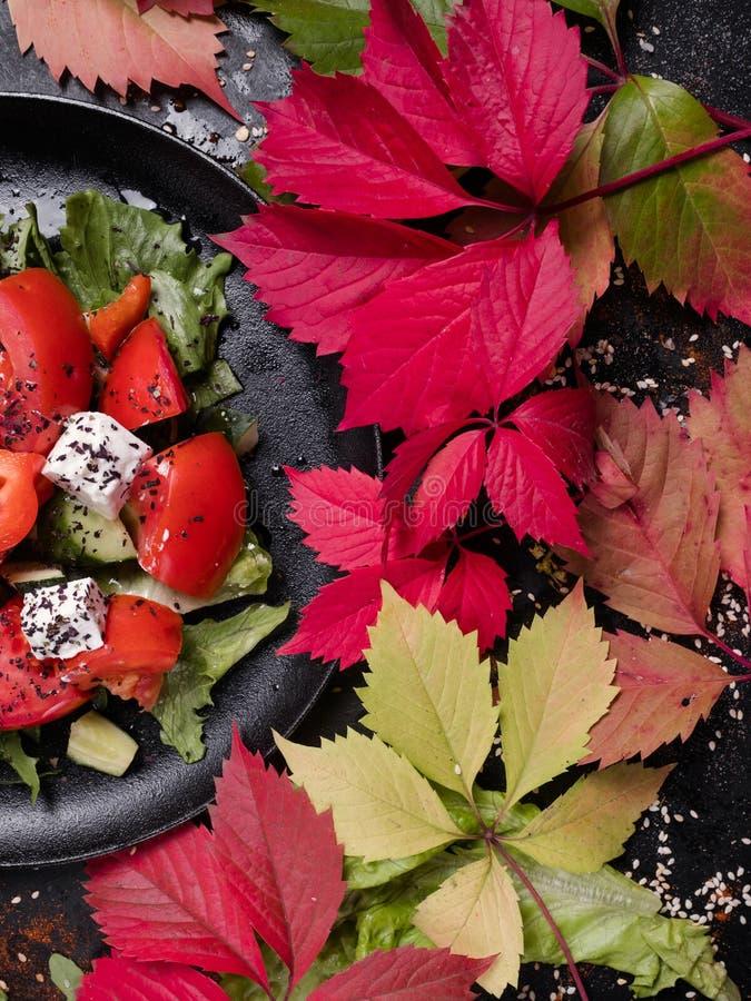 有机希腊沙拉适当的营养 库存图片