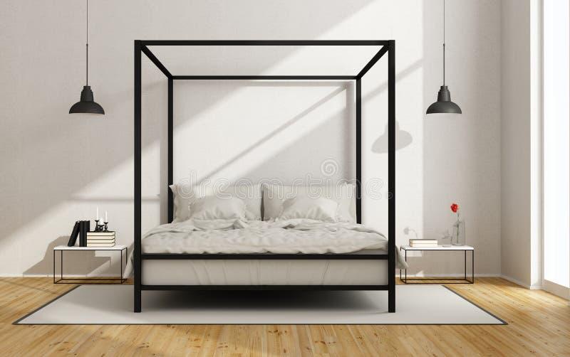 有机盖床的白色卧室 向量例证
