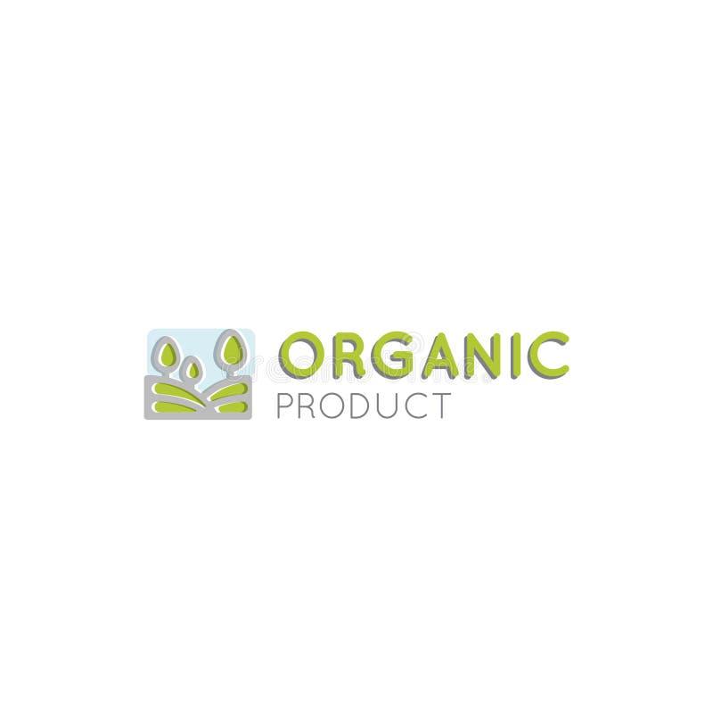 有机素食主义者健康商店的商标或商店,生物和ECO产品标志、绿色植物有叶子标志的与领域和树 皇族释放例证