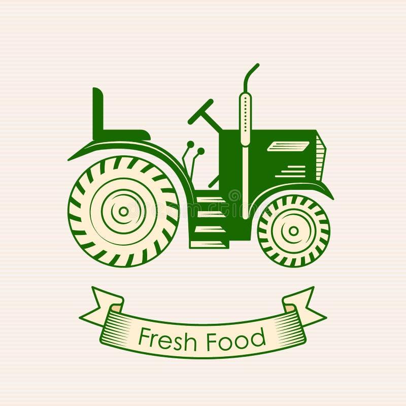 有机素食主义者健康食物eco餐馆商标拖拉机 库存例证
