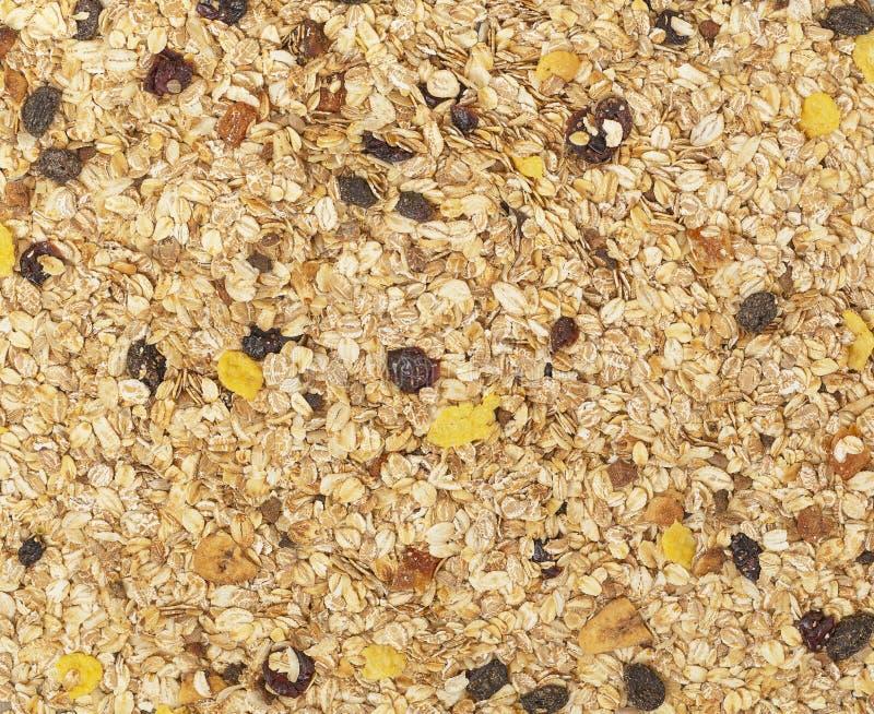 有机自创格兰诺拉麦片谷物 构造燕麦粥格兰诺拉麦片或muesli作为背景 r 库存图片