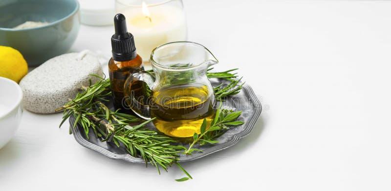 有机草本油,自然身体和skincare产品设置 免版税库存图片