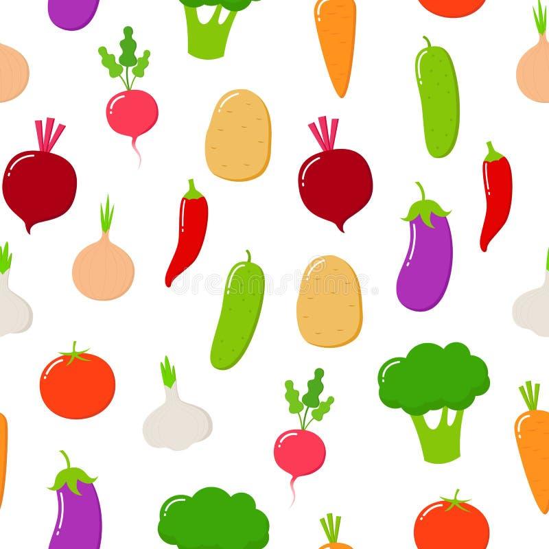 有机食品无缝的样式 导航水果和蔬菜在白色背景 皇族释放例证