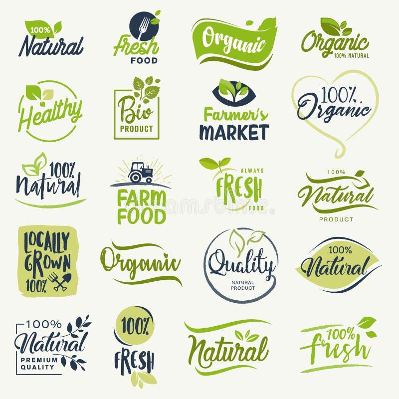 有机食品,种田新鲜和自然产品标志汇集 库存例证