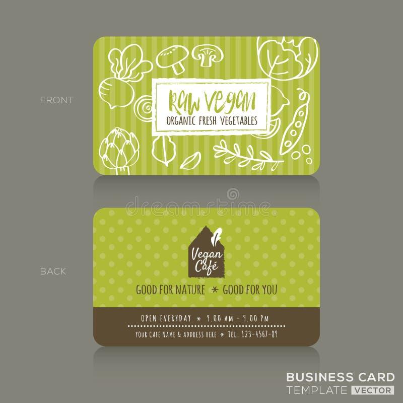 有机食品购物或素食主义者咖啡馆名片设计模板 向量例证