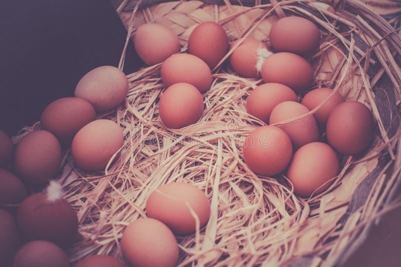 有机鸡蛋篮子在一个农村农夫市场上 图库摄影