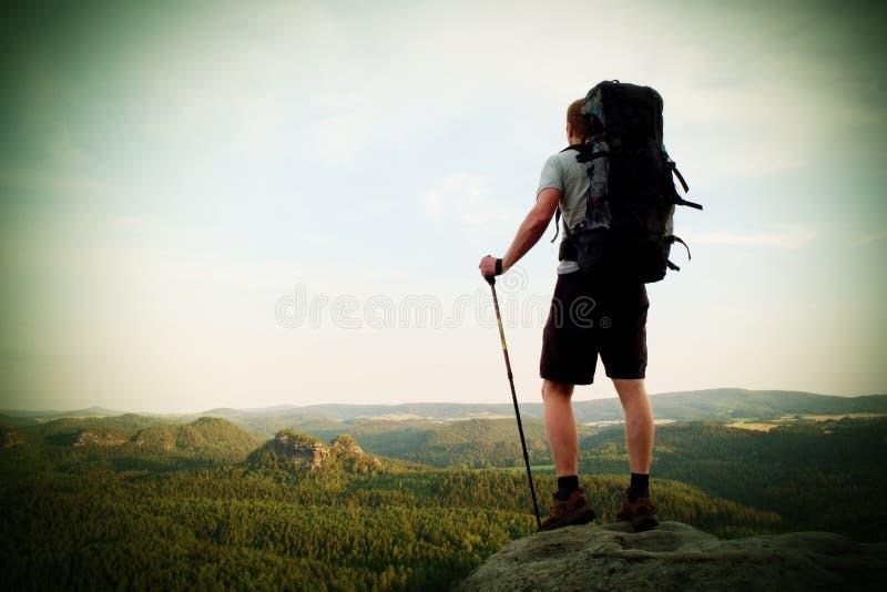 有杆的高背包徒步旅行者在手中 在落矶山脉的晴朗的夏天evenng 有大背包立场的远足者在岩石观点abov 免版税库存照片
