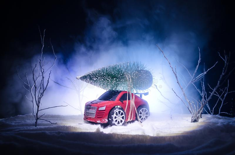 有杉树的微型汽车在斯诺伊冬天前面或者运载圣诞树的玩具汽车和在夜间 库存图片
