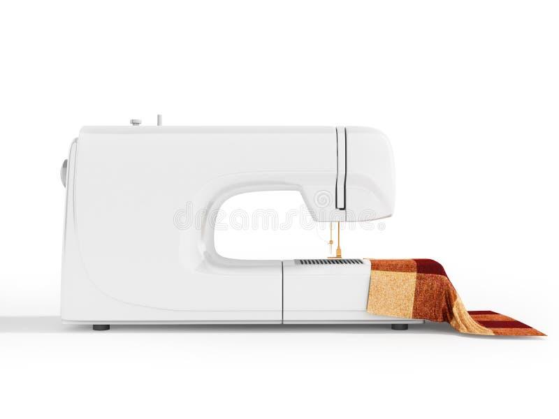 有材料的现代白色缝纫机剪裁的在r 皇族释放例证