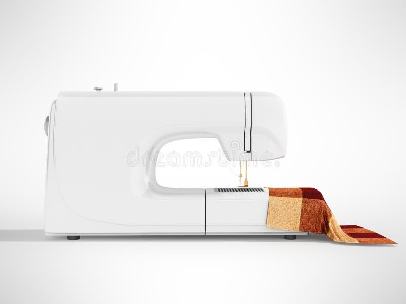 有材料的现代白色缝纫机剪裁的在r 库存例证