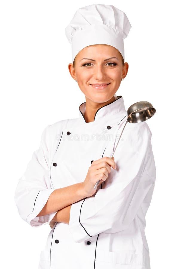 有杓子的微笑的主厨 免版税库存照片