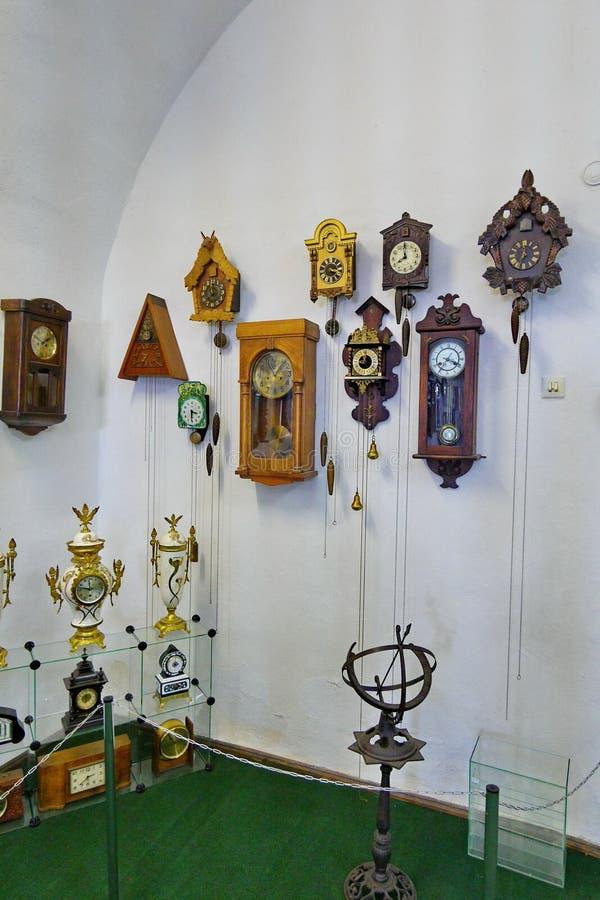 有杜鹃的,非常葡萄酒内部的美好的事很多另外和古老壁钟 库存图片