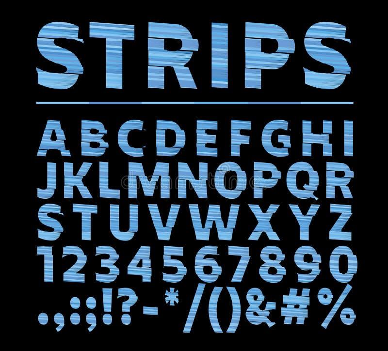 有条纹的大胆的字体和字母表传染媒介  转移作用类型lette 免版税图库摄影