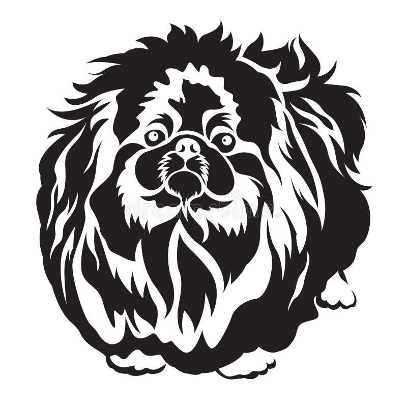 有来历纹身花刺和屏幕传染媒介的狗pekingese品种设计 库存例证
