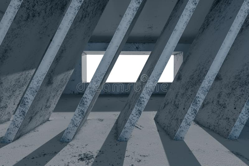 有来自窗口,3d的光的空的概略的室翻译 皇族释放例证