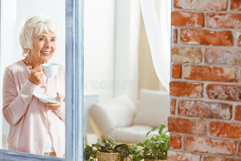 有杯子的老妇人 库存照片