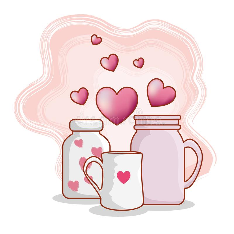 有杯子的花瓶和心脏对愉快的情人节 向量例证