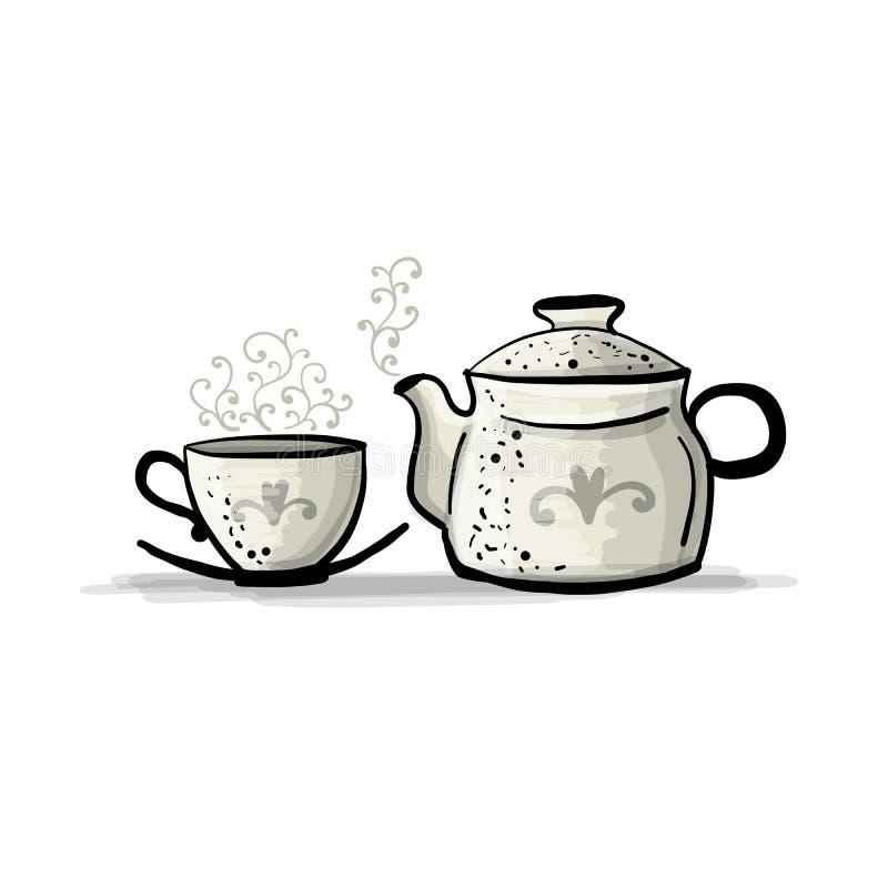 有杯子的,您的设计的剪影陶瓷茶壶 向量例证