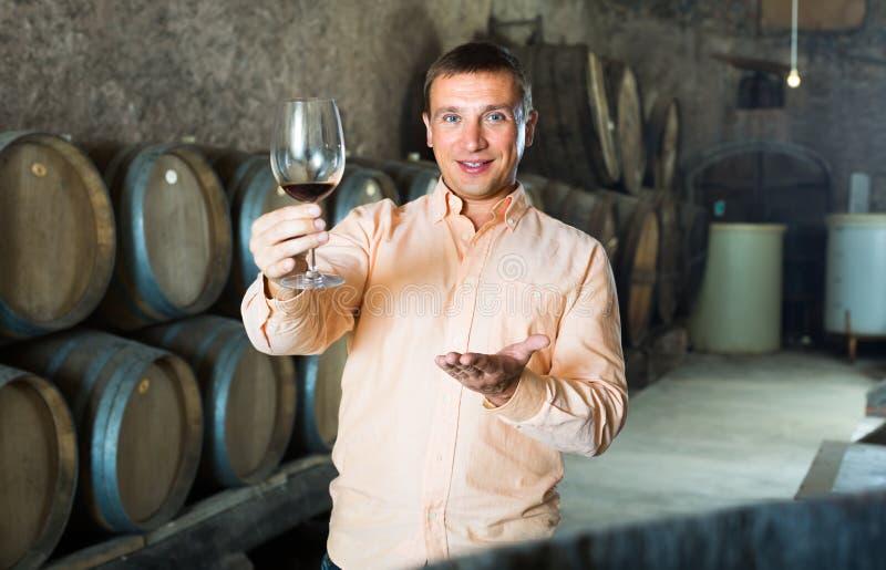 有杯的人酒在酿酒厂地窖里 库存照片