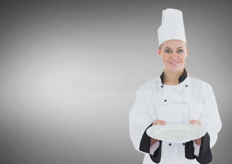 有板材的厨师反对灰色背景 库存例证