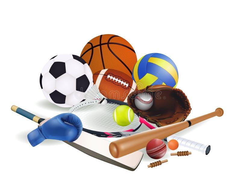 有板球运动和羽毛球被隔绝的橄榄球篮球棒球足球网球排球拳击手套的运动器材  皇族释放例证