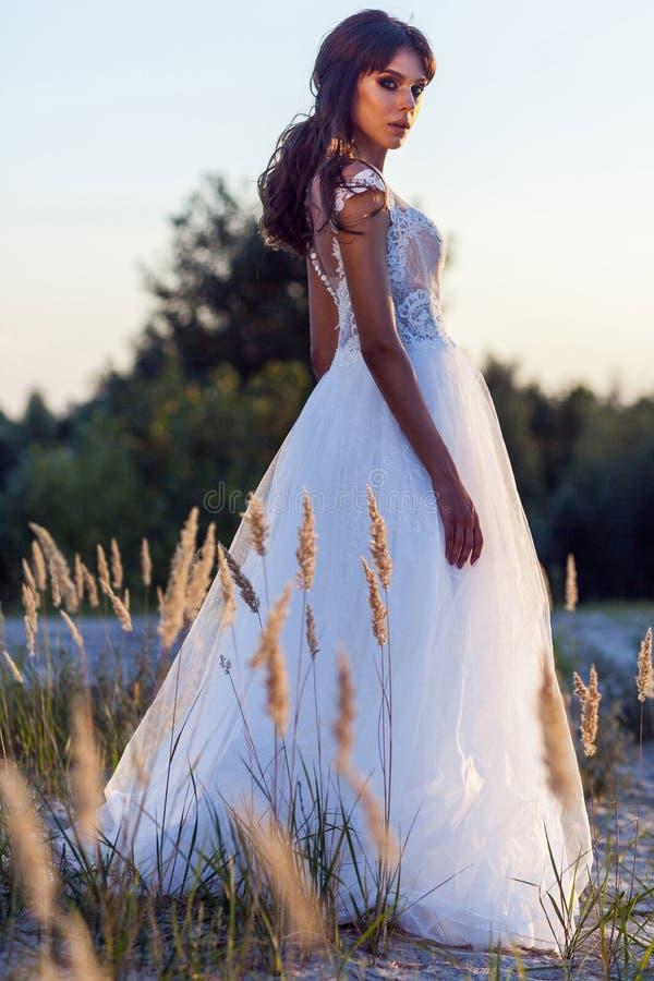 有构成和发型佩带的白色婚纱的可爱的深色的妇女,当摆在沼地时 侧视图和看 免版税图库摄影