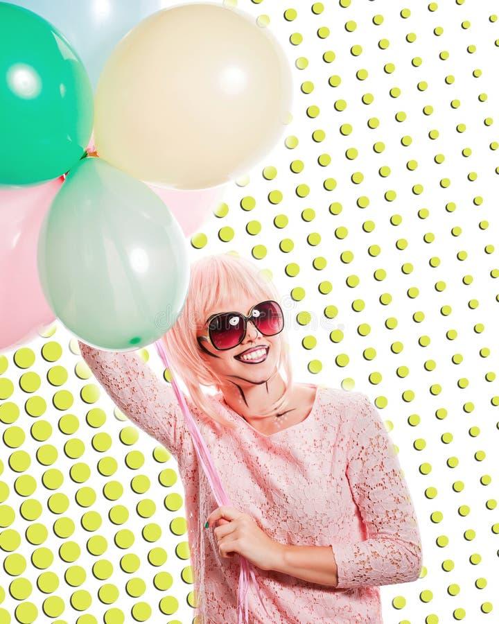 有构成的女孩仿照流行艺术和气球样式 色的b 免版税图库摄影