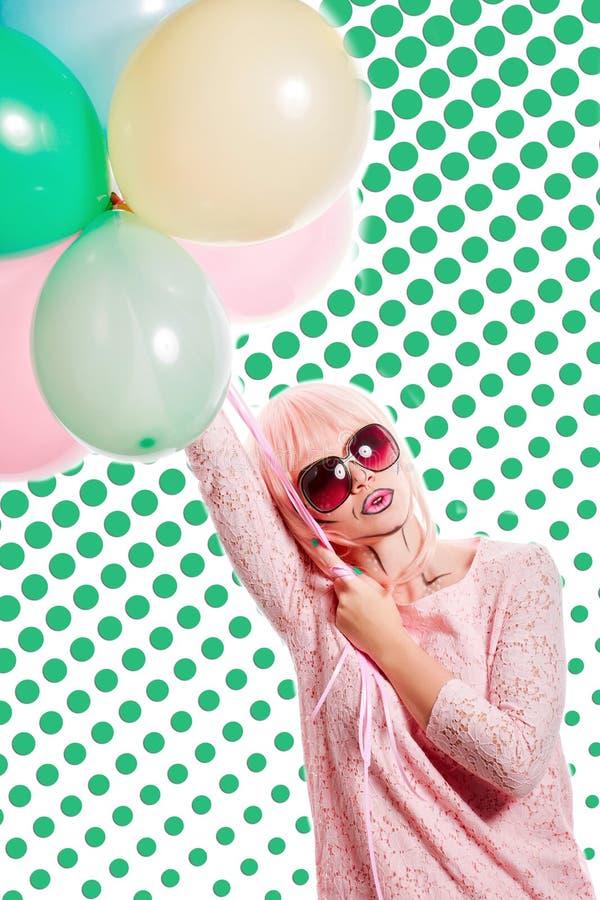 有构成的女孩仿照流行艺术和气球样式 色的b 免版税库存照片