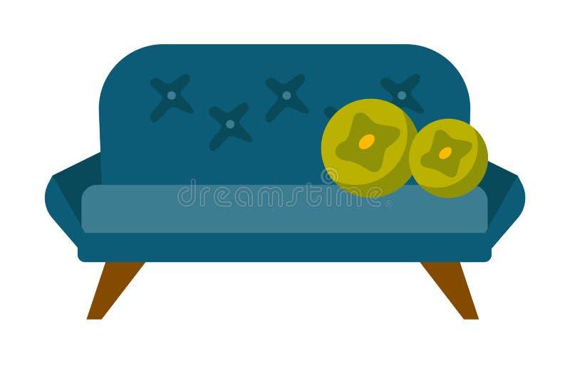 有枕头传染媒介动画片例证的蓝色沙发 向量例证